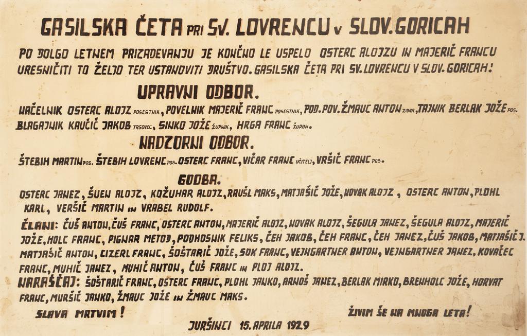Ustanovna listina PGD Gabrnik